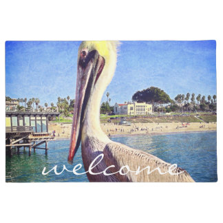 """Welcome"" Beach Pier Pelican Bird Close-up Photo Doormat"