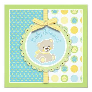 """Welcome Bear Invitation Square 5.25"""" Square Invitation Card"""