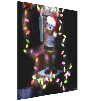 Welcome Bear with Christmas Lights Canvas Prints