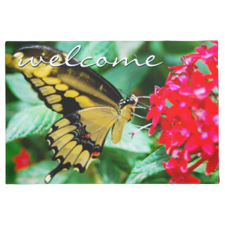 """Welcome"" Beautiful Yellow & Black Butterfly Photo Doormat"
