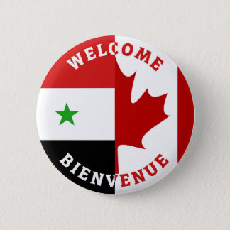 Welcome Bienvenue Syrians 6 Cm Round Badge
