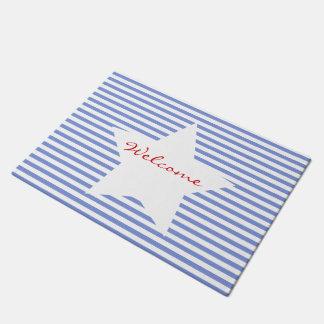 Welcome | Blue Stripes & White Star Door Mat
