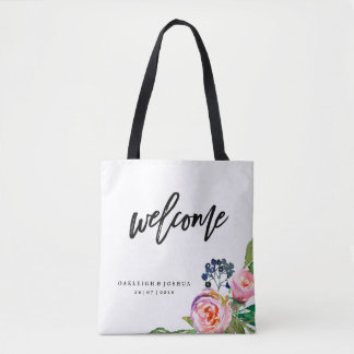 Welcome Bohemian Floral Wedding Tote Bag