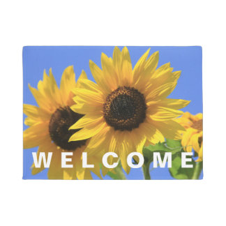Welcome Bright and Sunny Summer Sunflower Doormat