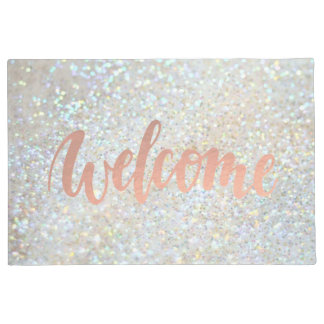 welcome calligraphy on faux glitter doormat