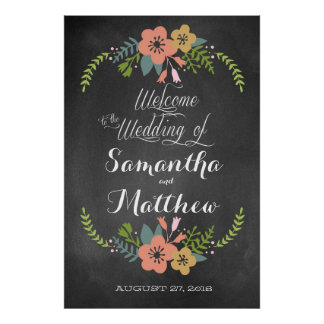 "Welcome ""Chalkboard"" Wedding Sign Poster 32x48"