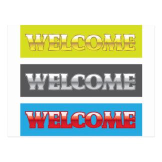 Welcome Chrome Words Postcard