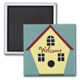 Welcome Country Blue and Yellow Birdhouse Magnet