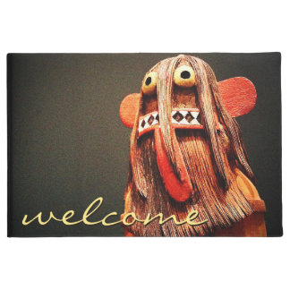 """""""Welcome"""" Cute Fun Silly Hairy Odd Face Photo Doormat"""