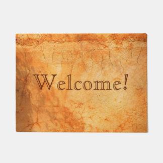 Welcome dark Italian terracotta colored brick wall Doormat