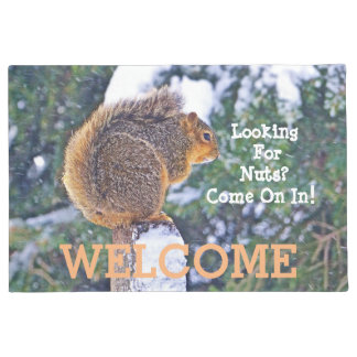 """""""WELCOME"""" DOOR MAT WITH SQUIRREL/""""LOOKING FOR NUTS"""