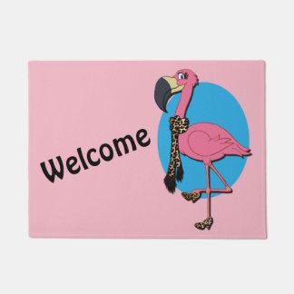 """Welcome Fancy Flamingo 18"""" x 24"""" Door Mat"""