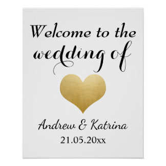 Welcome | Faux Gold Foil Heart Wedding Poster