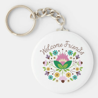 Welcome Friends Bouquet Key Ring