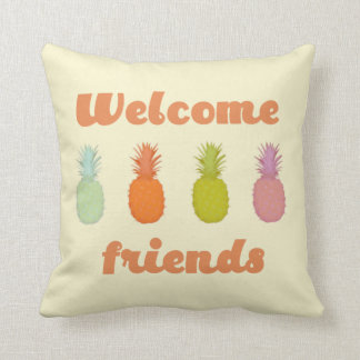 Welcome Friends Tropical Pineapple Pillow
