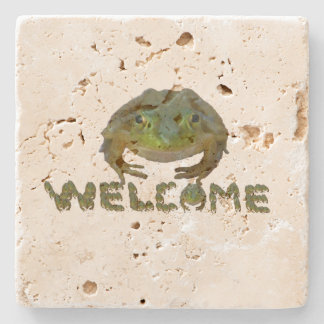 Welcome Frogs Stone Coaster