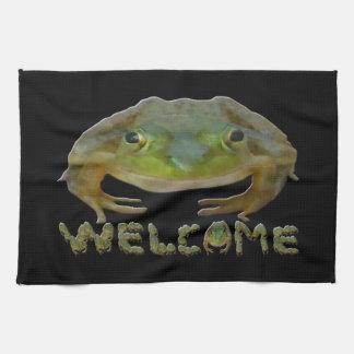 Welcome Frogs Tea Towel