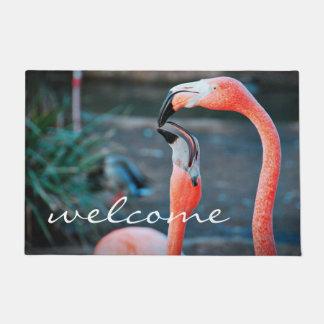 """Welcome"" Fun & Cute Orange Pink Flamingos Photo Doormat"