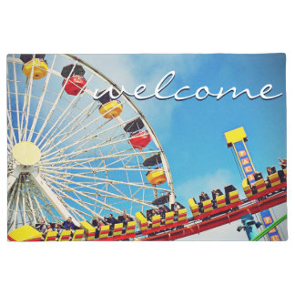 """Welcome"" Fun Ferris Wheel & Roller Coaster Photo Doormat"
