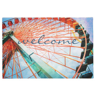 """Welcome"" Fun, Giant Colorful Ferris Wheel Photo Doormat"