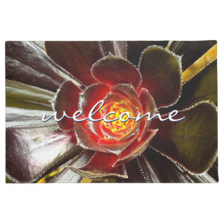 """Welcome"" Giant Orange Black Cactus Close-up Photo Doormat"