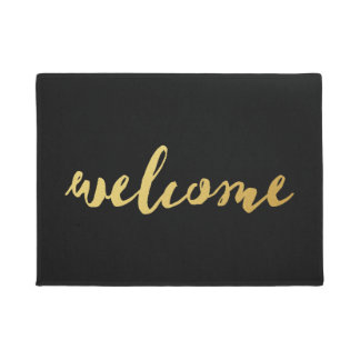 Welcome Gold & Black Doormat