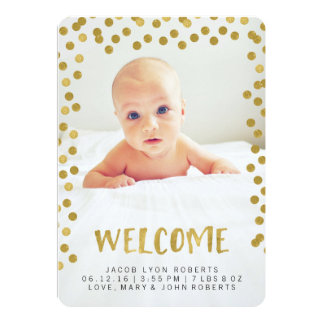 Welcome | Gold Modern Photo Birth Announcements