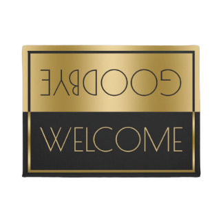 Welcome Goodbye Gold & Black Geometric Design Doormat