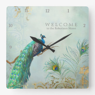Welcome Guest Family Room Peacock n Feathers Art Square Wall Clock