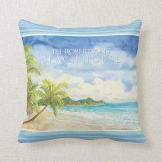 Welcome Guests Beach House Palm Sand Beach Ocean Throw Pillow