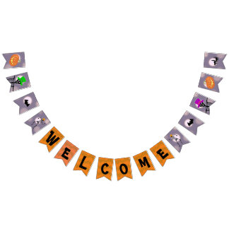 Welcome Halloween Party Skeletons Bunting