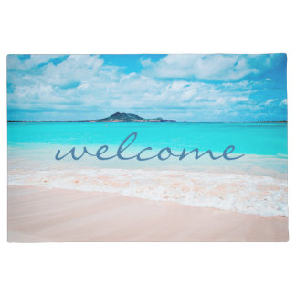 """Welcome"" Hawaii Aqua Ocean & Sandy Beach Photo Doormat"