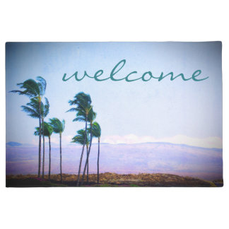 """Welcome"" Hawaii Palm Trees and Purple Hills Photo Doormat"