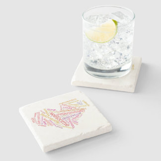 Welcome Heart (many languages) Stone Coaster