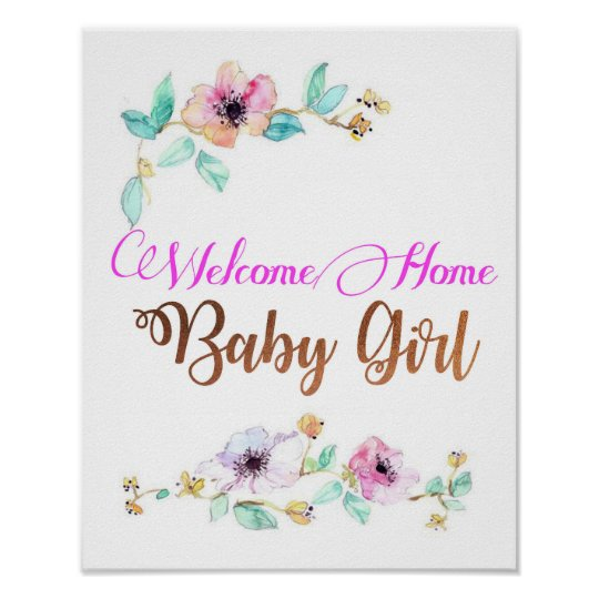 welcome home baby girl poster with copper font zazzle com au