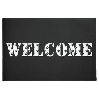 Welcome Home Black And White Paw Print Door Mat