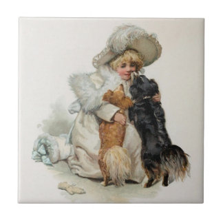 Welcome Home Cute Vintage Terrier Dogs Tile