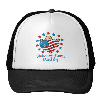 Welcome Home Daddy Baby Heart Trucker Hats