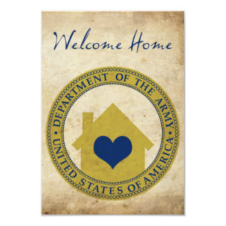 welcome home from the army (heart seal) 9 cm x 13 cm invitation card