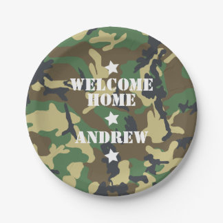 Welcome Home Military Army Deployment Camouflage 7 Inch Paper Plate