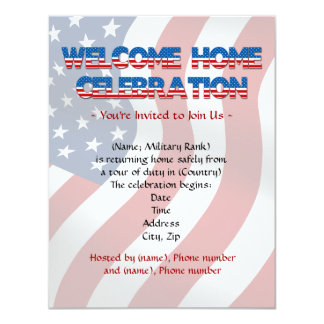 "Welcome Home Military invitations 4.25"" X 5.5"" Invitation Card"