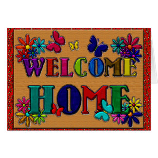 Welcome Home Sign Butterfly Floral Greeting Card