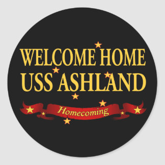 Welcome Home USS Ashaland Round Stickers