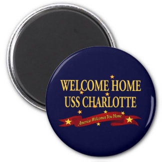 Welcome Home USS Charlotte 6 Cm Round Magnet