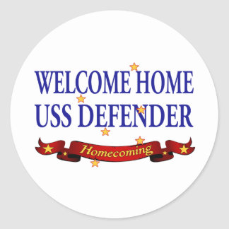 Welcome Home USS Defender Round Stickers