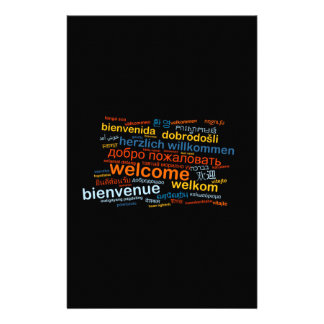 Welcome in multiple languages stationery paper