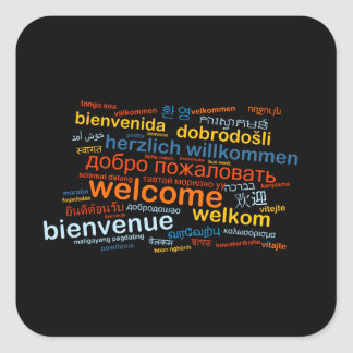 Welcome in multiple languages square sticker