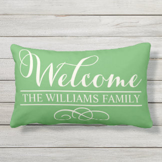 Welcome in Script | Green Custom Lumbar Cushion