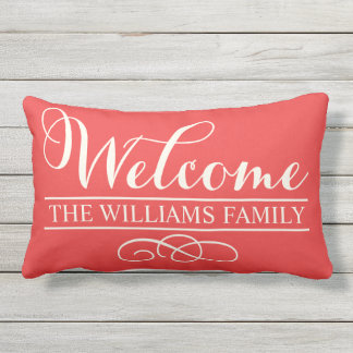 Welcome in Script | Poppy Red Custom Outdoor Cushion