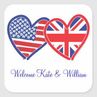 Welcome Kate & William/ Royal Wedding Square Stickers